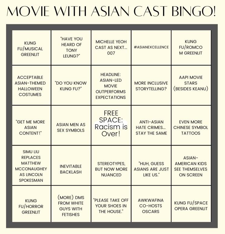Movie with Asian Cast Bingo!